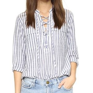 Madewell Lace-Up Striped Shirt